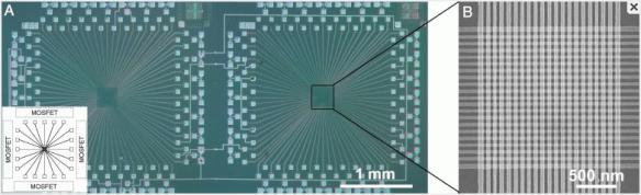 Microfotografías de 2 memorias de nanomemristores conectadas entre sí (C) National Academy of Sciences, EEUU.