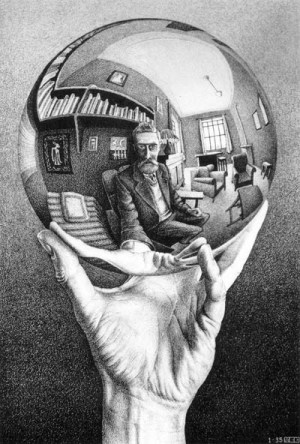 Dibujo20121215 crystal ball escher