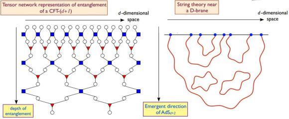 Dibujo20121225 D-brane string theory - tensor network representation entanglement on a lattice model of quantum degrees of freedom