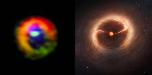 Dibujo20130103 ALMA Observation vs artistic vision HD 142527