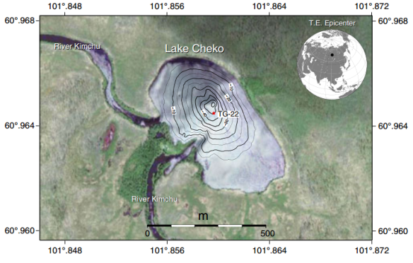 Dibujo20130504 Lake Cheko bathymetric map and location of sediment-core TG-22 collected during the Tunguska 1999 expedition