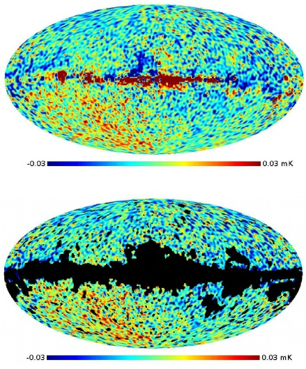Dibujo20130704 difference map between Planck NILC and WMAP9 ILC - bottom with WAMP KQ85 mask