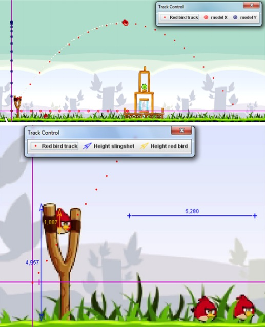 Dibujo20130705 angry birds - video analyser Tracker - calibration and measurement