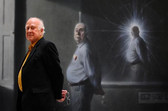 Dibujo20130923 Peter Higgs and his portrait in the informatics forum - www ph ed ac uk
