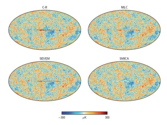 Dibujo20131002 four sky maps of cmb obtained with planck - wmap vs planck consistency