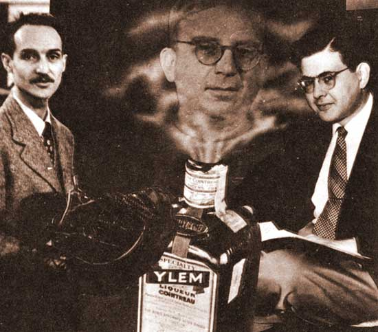 Dibujo20131013 composite picture 1949 Robert Herman left Ralph Alpher right George Gamow center - bottle of Ylem initial cosmic mixture of protons neutrons and electrons