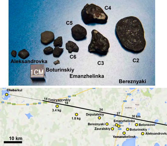 Dibujo20131107 Fragments of Chelyabinsk C2-C6 analyzed and their location marks - science mag